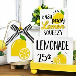 Lemon Wood Tiered Tray Summer Home Decor Lemonade Stand Rustic Kitchen Signs Set $46.99