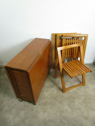Mid Century Danish Style Romanian Drop Leaf Table With 4 Folding Chairs $349.99