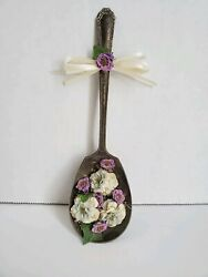 Ornate Sterling Silver Spoon with Purple Lavender Dried Flower Decor Vintage $7.99