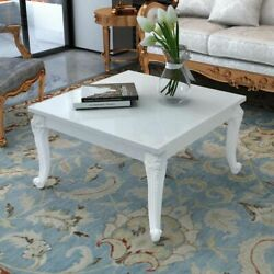 Modern High Gloss Coffee Side Couch Table Living Room Furniture White Square NEW $133.49