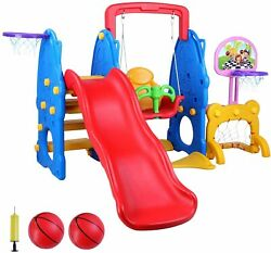 Toddler Slide amp; Swing Set Kids Slide Playset Playground Toy w Basketball Hoop $189.90