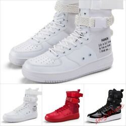 Mens High Top Sneakers Buckle Strap Fashion skateboard shoes Punk High Top Shoes $46.86
