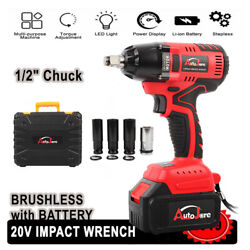 1 2 in Chuck Impact Wrench Cordless Set 18V 20V Max Brushless Tool fit Craftsman $94.87