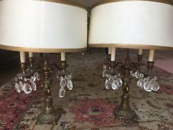 Antique cherub French lamps with hand painted shade $600.00