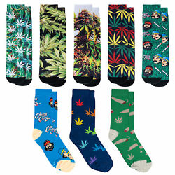 Crazy Socks Unisex Graphic 5 Pack Weed Crew Socks Novelty Funny Crazy Silly $25.00