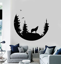 Vinyl Wall Decal Abstract Moon Howling Wolf Predator Bedroom Stickers g3483 $20.99