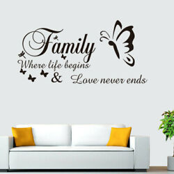Family where life begins and love never end Vinyl wall art sticker decal black $3.99