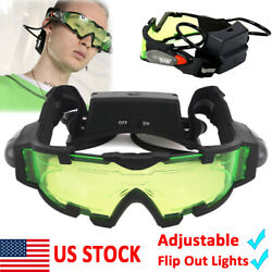 Adjustable LED Night Vision Goggles Eyeshield Glasses w Flip Out Lights $15.99