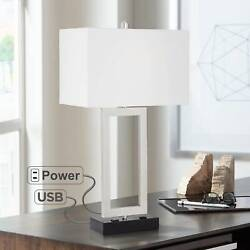 Modern Table Lamp with USB Outlet Steel Open Rectangle for Living Room Bedroom $59.95