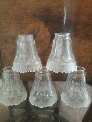 VINTAGE SET OF 5 REPLACEMENT CHANDELIER GLOBES THICK TULIP DESIGN $19.99