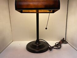 Desk Top Bankers Light Lamp 15quot; Tall Brown Marbled Translucent Shade $26.99