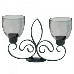 Metal Double Candle Stand Holder Fleur De Lis Design w Two Glass Cups Home Decor $44.00