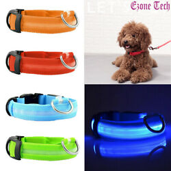 Pet Dog LED Night Light Up Safety Collar Adjustable Flash Leash 4 Colors Sizes $4.95