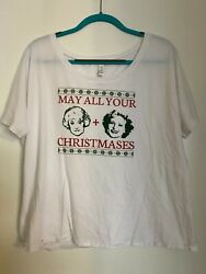 GOLDEN GIRLS May All Your Christmases Bea White Holiday Women#x27;s T Shirt Size L $9.99