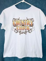 Novelty Women's T Shirt Size Large COUNTRY CHICK Lifestyle Legends Light Blue $7.00