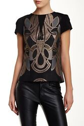 NEW TED BAKER LONDON Tottey Jacquard Blouse TOP Size 0 $225 BLACK NORDSTROM $79.00