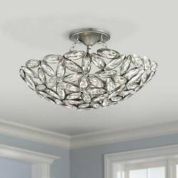 Modern Ceiling Light Semi Flush Mount Fixture Brushed Nickel 20quot; Crystal Bedroom $499.99