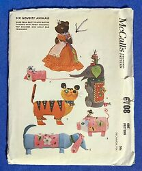 Vtg 1963 McCalls Sewing Pattern 6 Novelty Animals Craft UNCUT Bear Tiger Pig Dog $10.79