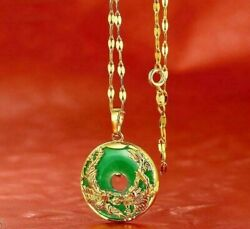 24K Gold Plated Dragon Phoenix Pendant Malaysia Jade Jewelry Chain Necklace 1quot; $11.99