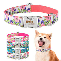 Floral Dog Collar Personalized Engraved Name Metal Buckle Nylon Adjustable XSSML $8.99
