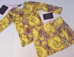NWT NEW Young Versace 3a 3T Girl Designer 2 Pc Top Skirt Set Yellow Purple $314 $79.00
