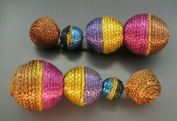 Vintage CORD STRING WRAPPED BALLS Dangle Earrings BROWN GOLD PURPLE PINK BLUE $9.00
