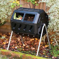 37Gal Dual Chamber Tumbling Composter Garden Bin Adjustable Air Vent Steel Frame $115.99