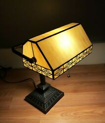Table Desk Banker Lamp Art Deco Tiffany Style Stained Glass Slag Style Light $99.99