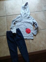 Carter#x27;s 3T Girl Outfit gray Lady Bug Hooded Shirt blue leggings $3.50