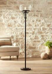 Industrial Torchiere Floor Lamp Oil Rubbed Bronze Clear Glass for Living Room $269.99