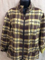 Robert Kitchen Canada Vegan wool lane brown gold plaid zip blazer lite jkt Large $13.50