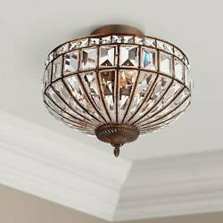 Ceiling Light Semi Flush Mount Fixture Mocha Brown 15quot; Crystal Bedroom Kitchen $199.95