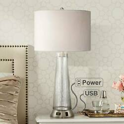 Modern Table Lamp with USB Outlet Ribbed Glass for Living Room Bedroom Bedside $109.95