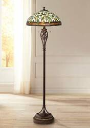 Tiffany Style Floor Lamp Bronze Stained Glass Leaf Pattern For Living Room Light $249.95