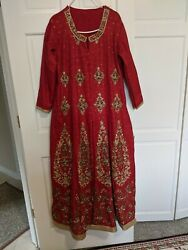 Indian pakistani party wear long dress goven zardozi heavy work 36 small 4 to 6 $250.00