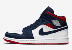 Men#x27;s Jordan 1 Mid SE quot;USAquot; White Varsity Red Midnight Navy 852542 104 $199.95