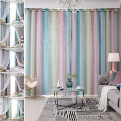 2 Layers Stars Gradient TulleThermal Blackout Curtains For Boys Girls Bedroom $21.98