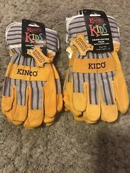 Kinco Kids Lined Grain Leather Palm with Knit Wrist Gloves model 1917 Age 7 12 $12.99