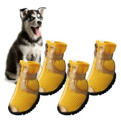 4pcs Pet Dog Shoes Small Large Anti slip Mesh Boots Summer Breathable Booties US $10.45