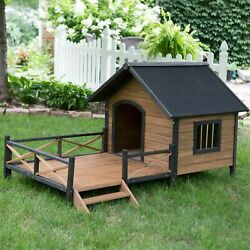 Outdoor Large Dog House Spacious Deck Porch Raised Floor Wood New $298.88