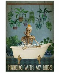 Vintage Skeleton Hanging With My Buds Gardening Poster Wall Art Decor $21.95