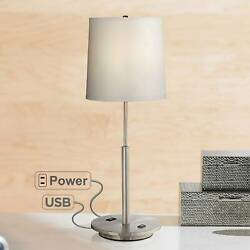 Modern Table Lamp with USB Outlet Brushed Steel Off White Living Room Bedroom $89.95