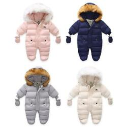 Newborn Baby Winter Clothes Jumpsuit Hooded Fleece Overalls Children Outerwear $34.91