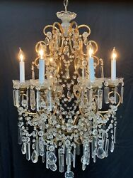 Antique French Italian Crystal Gilt Iron Crystal Beaded Chandelier Lustre $1750.00
