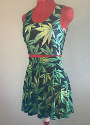 2 piece circle skirt and crop tank top Weed leaf Marijuanna Mary Jane Stoner set $26.00