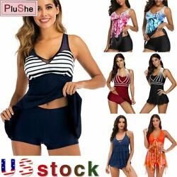 Plus Size Women Two Pieces Swimwear Tankini Bathing Suit Beach Skirt Dress M 5XL $13.49