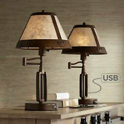 Rustic Industrial Desk Lamps Set of 2 USB Port Bronze Mica Shade for Office $359.98
