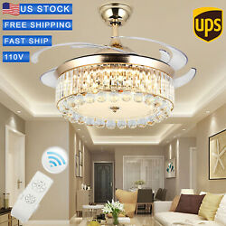42 Chandelier Ceiling Fan Light Invisible Blade Crystal LED With Remote Control $135.99