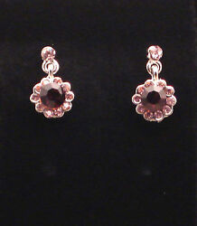 Plum Crystal Earrings stud mini drop dangle purple jewelry $11.95