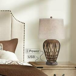 Modern Table Lamp with USB Outlet Workstation Base Geometric Bronze Living Room $139.94